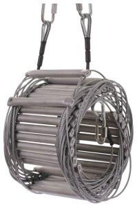 Strickleiter/ Sprossenleiter / Seilleiter mit Aluminiumtritten und Stahlseil.